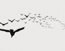 Murder of flying Crows Image Flying Crows Crows Silhouette Flock of Flying Crows High Quality Image