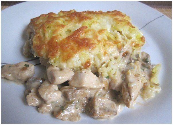 Chicken with mushrooms, baked potato coat.