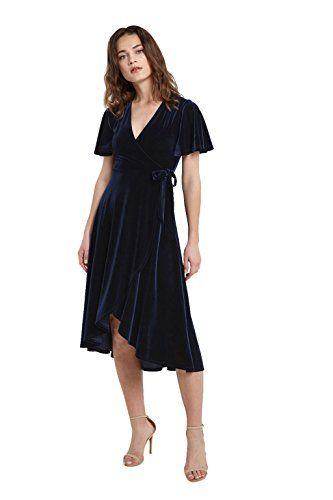 eb30d4546dd Buy Poshsquare Women s Short Sleeve V Neck Midi Mock Wrap Knot Tie Velvet  Swing Dress USA