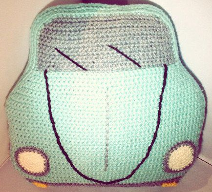 PDF Crochet Pattern VW Bug / Beetle Cushion by PoodleAndPigPig