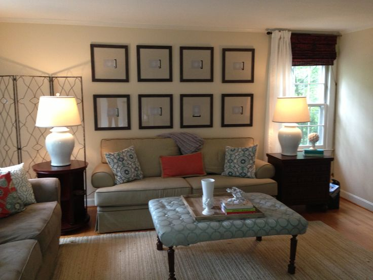 Wall Behind The Couch 16x16 Frames With Linen Matting