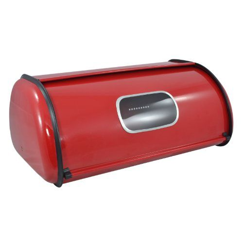 Modern Red Metal Clear Front Window Rolltop 2 Loaf Bread Box / Storage Bin - MyGift® MyGift - amazon - $32.50 - GOT THIS for Christmas 2015 - LOVE it