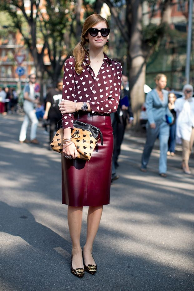 Milan: Leather Wine Skirt, Heart Print Blouse and Bag, Touch of Leopard Flats