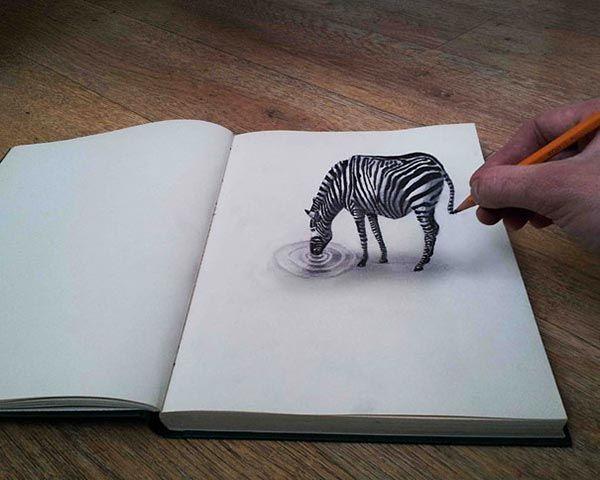 Zeebra 3d pencil drawings http://webneel.com/3d-drawings-pencil-art | Design…