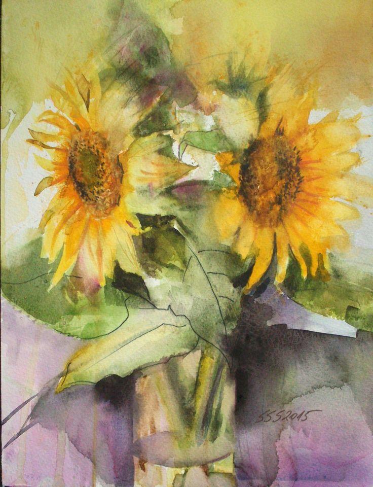 SUNFLOWERS watercolor by Silja Salmistu