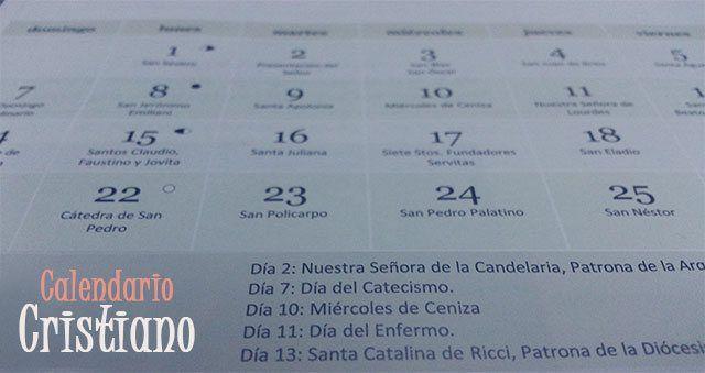 Calendario de días de los santos y festividades cristianas