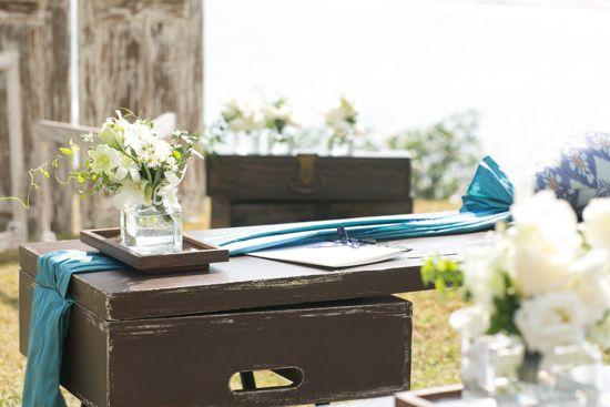 The flowers on the bench a by Tirtha Bridal Uluwatu Bali #outdoor #garden #wedding