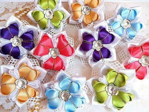 Нарядные резинки бантики из лент канзаши МК / hair clips ribbon kanzashi DIY - YouTube