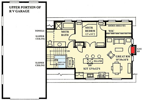 Rv garage plans garage loft plan with rv storage and two for Rv garage plans with living space