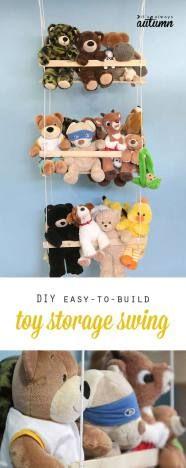 faça você mesmo com barbante e pedaços de madeira esse organizador de brinquedos