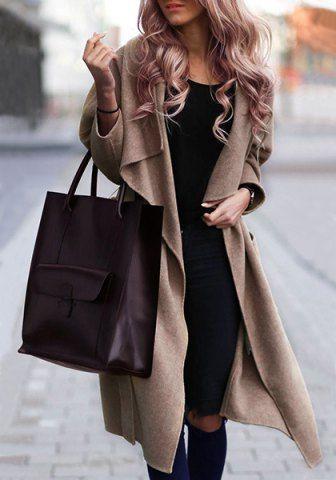 Vintage Style Turn-Down Collar Long Sleeve Pure Color Self Tie Belt Women's Coat