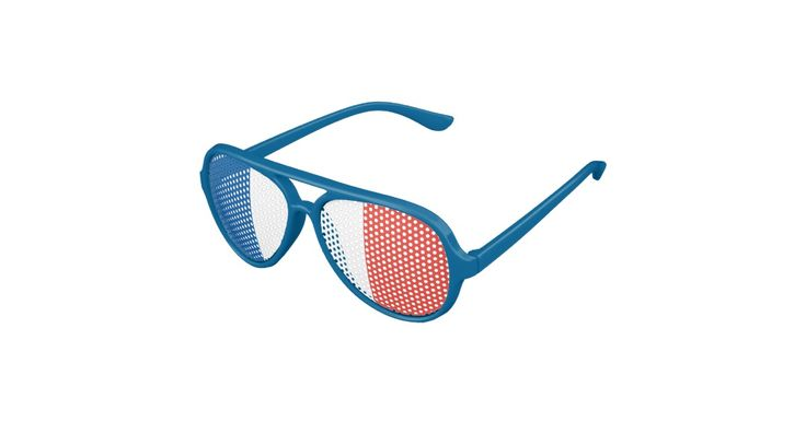The national flag of France on shades! Great for Francophiles or a Bastille Day party, July 14th! Great for World Cup celebrations or to support Les Bleus during any international sporting event. Or throw a party with international flair during the upcoming 2016 Summer Olympics (Jogos Olímpicos de Verão de 2016) in Rio de Janeiro, Brazil. Vive la France!