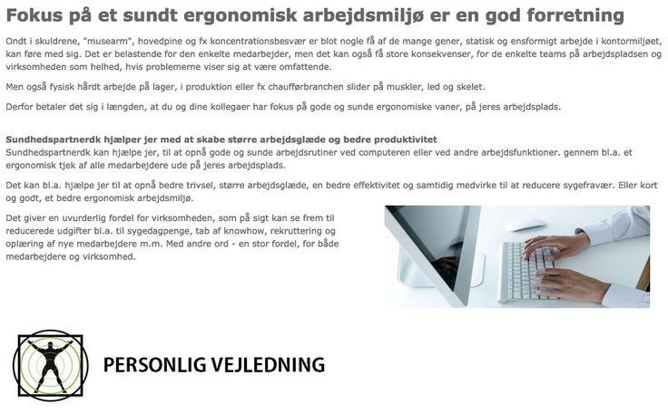 Professionel vejledning i ergonomisk arbejdsmiljø på arbejdspladsen.