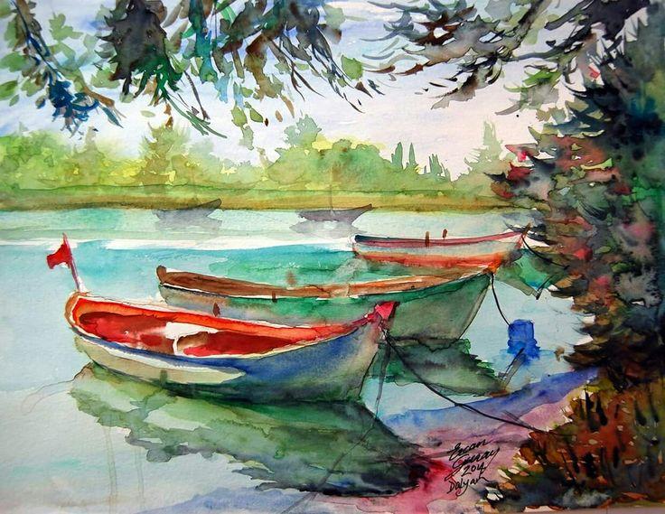 Fishing Boats in Lake İznik  -İznik Gölünde balıkçı tekneleri watercolor on paper kağıt üzerine suluboya 23cmx32 cm artist Ercan Günay