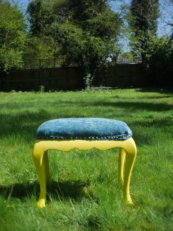 Gorgeous Hand Painted Yellow Dressing Table Stool upholstered with teal fabric…
