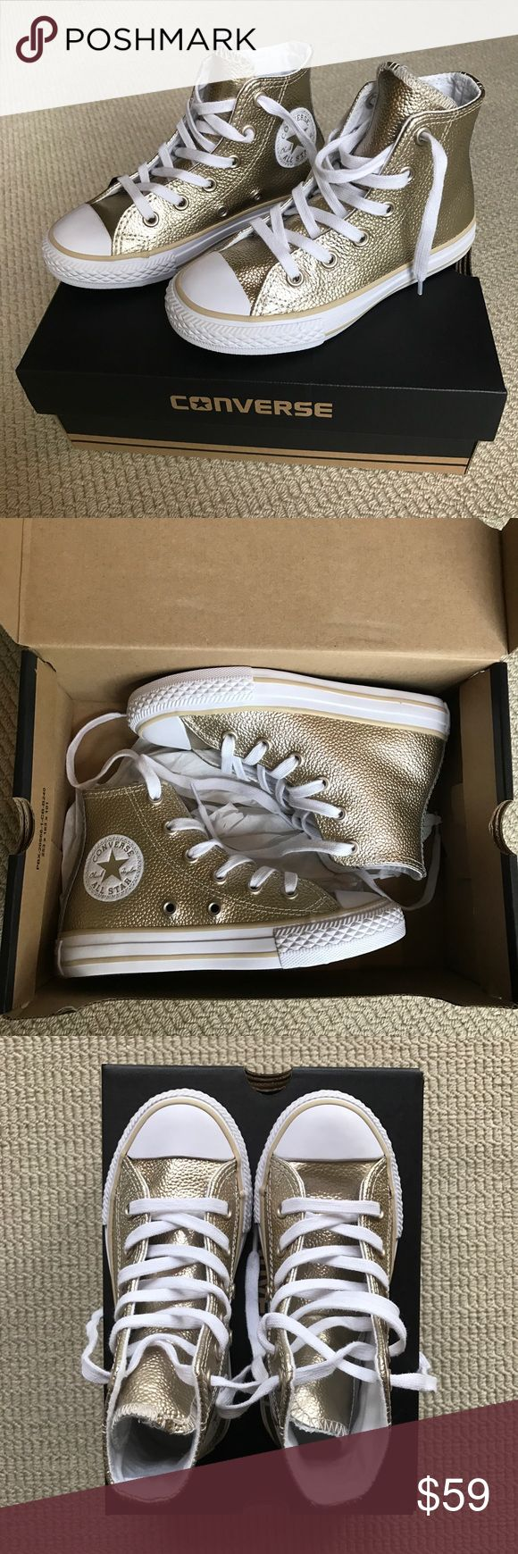 Converse Girls All Star High Tops Stingray Gold 11 SOLD OUT! Girls Converse Chuck Taylor All Star High Tops Stingray Gold Metallic. Kids girls size 11. I think I purchased the last pair from Nordstrom :-) These are so cute! Converse Shoes