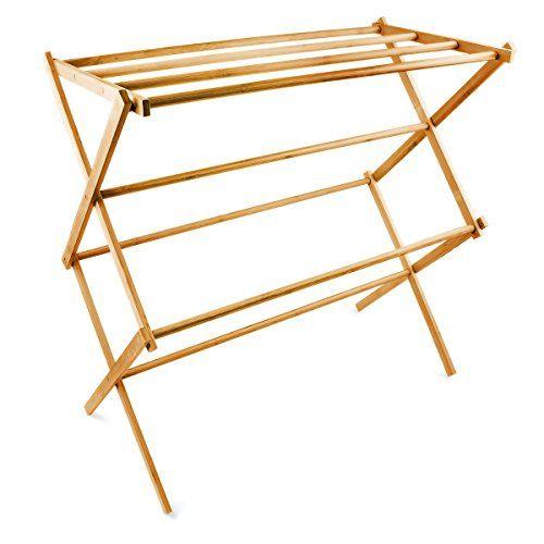 Relaxdays Handtuchhalter Bambus faltbar HBT 73 x 74 x 36 cm klappbarer Handtuchständer aus Holz mit 8 Handtuchstangen als platzsparender Wäscheständer, Herrendiener oder Handtuchtrockner, natur