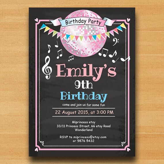Glitter birthday Invitation, pink disco ball Dance party 10th 16th 18th 20th 30th 40th any age birthday Birthday Party Invitation card 482 by miprincess on Etsy https://www.etsy.com/listing/221986329/glitter-birthday-invitation-pink-disco