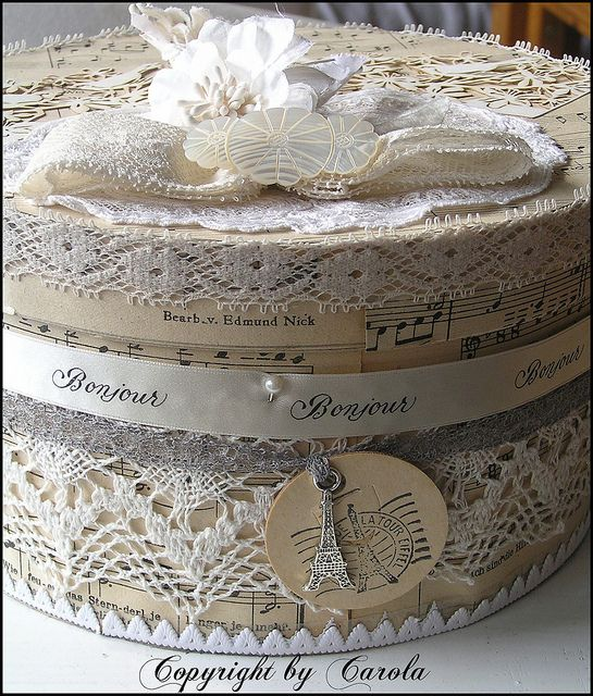 Vintage inspired french hat box
