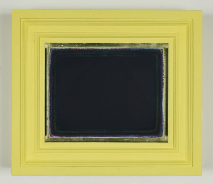 TOMISLAV NIKOLIC  By an endeavour to understand: C. The Manner of reception, 4, 2013-2014 2014 acrylic, marble dust, 18ct green gold leaf, museum glass on canvas and wood 49 x 56.5 x 9.5 cm