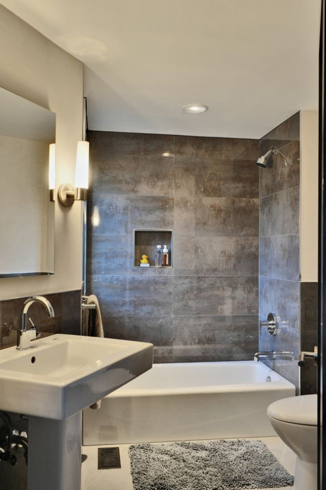 Kleines Badezimmer Fliesen Verlegen Metall Effekt Dunkelgrau Badewanne