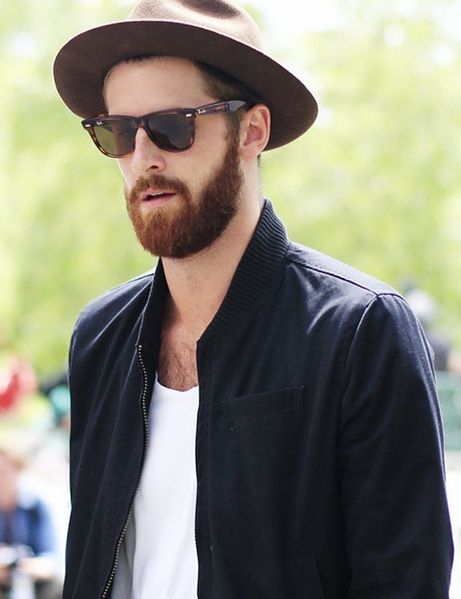 2014newyork fashion week streetstyle for men. chic tortoiseshell sunglasses you must love. #sunglasses #men #fashion simple look sunglasses beard hat white t shirt love the bomber jacket.