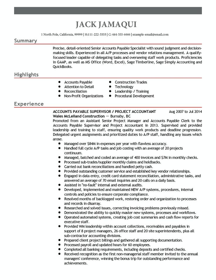 Best 25+ Accounts payable ideas on Pinterest Small business tax - Supervisory Accountant Sample Resume