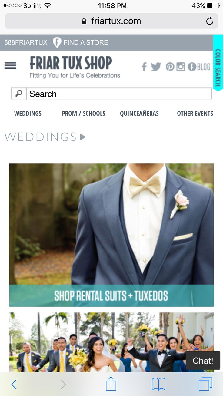 Tux rentals and cheap suits to buy.