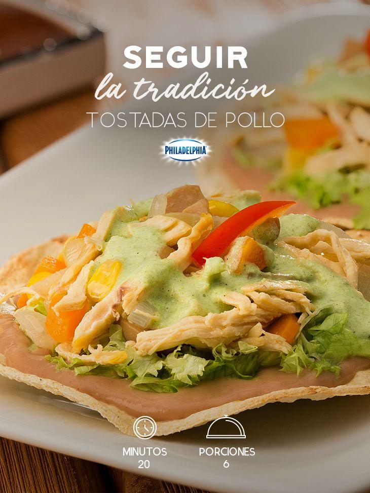 Descubre las mejores tradiciones en la cocina con estas Tostadas de pollo. #recetas #receta #quesophiladelphia #philadelphia #crema #quesocrema #queso #comida #cocinar #cocinamexicana #recetasfáciles #pollo #tostadas #cocinatradicional #tradicionesmexicanas #recetasconpollo