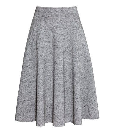 knee length skirt | H&M US This is BEAUTIFUL. black heels, white shirt, and long silver earrings.