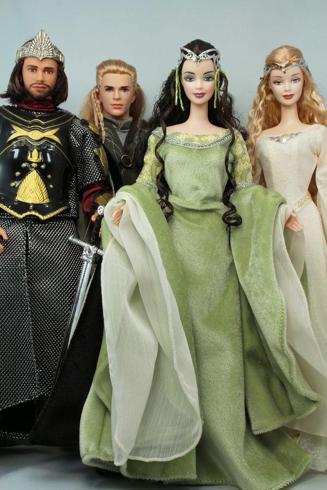 Lord Of The Rings Barbie Dolls Arwen Aragon Galadriel