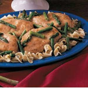 """Asparagus Chicken Fricassee Recipe -""""Since we can hardly wait for asparagus to appear in the spring, this recipe is a real family favorite,"""" confides Lois Crissman of Mansfield, Ohio. """"If you get too impatient waiting for garden-fresh spears, you can substitute canned or frozen instead, which will also lessen the cooking time."""""""
