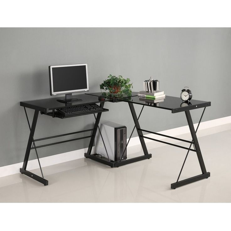 black metal and glass corner l shaped computer desk black metal computer desk