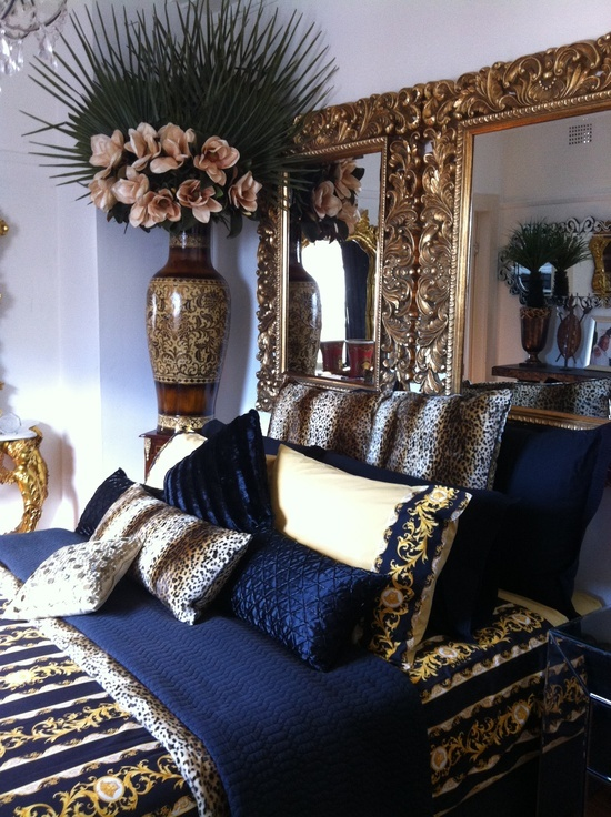 Navy Blue, Gold, White Bedroom