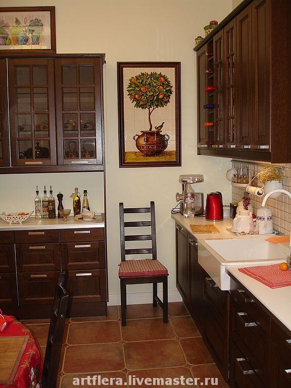 """Купить Панно """"Деревце апельсина"""". - деревце апельсина, панно из плитки, роспись на плитке, панно на кухню"""