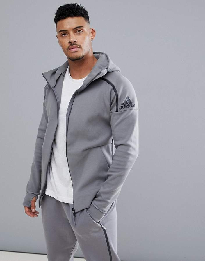559c013ed07 Adidas ZNE 2 hoodie in gray ce4260