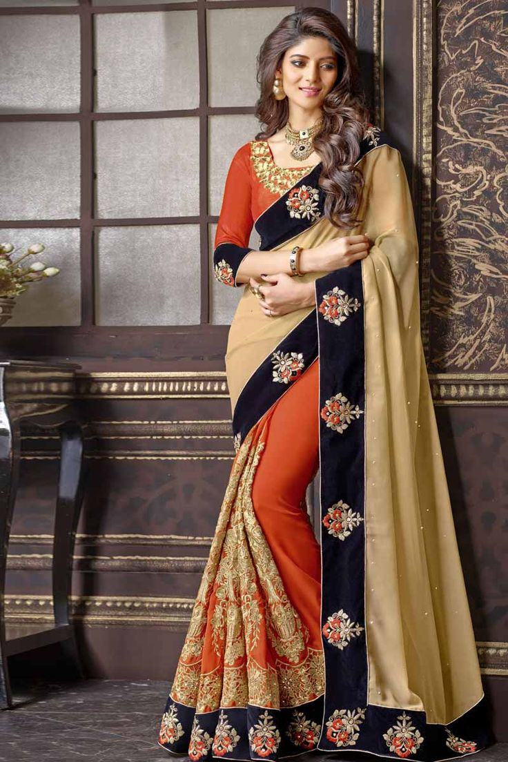 Beige With Orange Georgette Saree With Art Silk Blouse Price: $ 89.36   Beige with Orange, georgette saree with orange, art silk blouse.  Embellished with resham, zari and stone embroidery. Saree with Fancy Pallu and Lace Border ,Square Neck Blouse, Quarter Sleeve Blouse.  It comes with unstitch blouse, it can be stitched to 34,36,38,40 sizes.   http://www.andaazfashion.com/womens/sarees/beige-with-orange-georgette-saree-with-art-silk-blouse-dmv9122.html