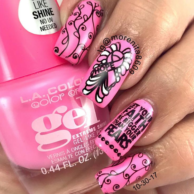Let your faith be bigger than your fears  #makingstrides #nailart  #cancerawareness  #pinknails #thinkpink