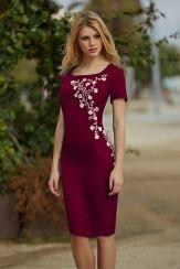 Льняное платье с вышивкой 2386 рубин