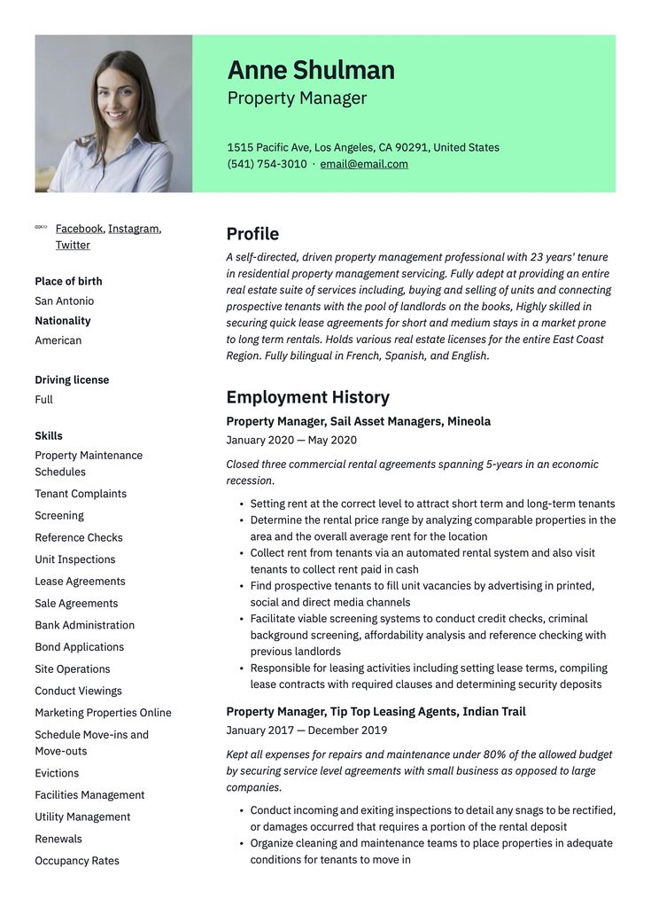 Pin on property manager resume examples