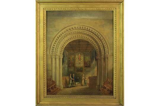 Charles Hodgson (1769-1856, British), Church Interior, oil on panel, (unsigned), 385mm x 310mm, g