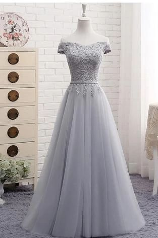 Cute A line Gray Lace Off Shoulder Lace-up Prom Dress with Appliques Graduation Dresses PM105