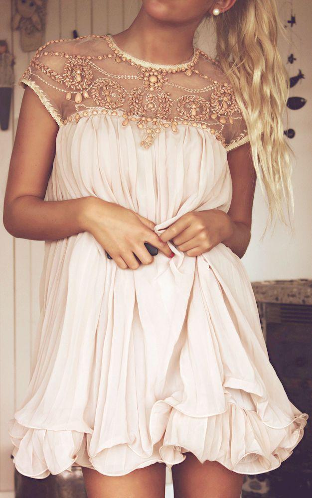 Blush Embellished Pleated Dress ♥