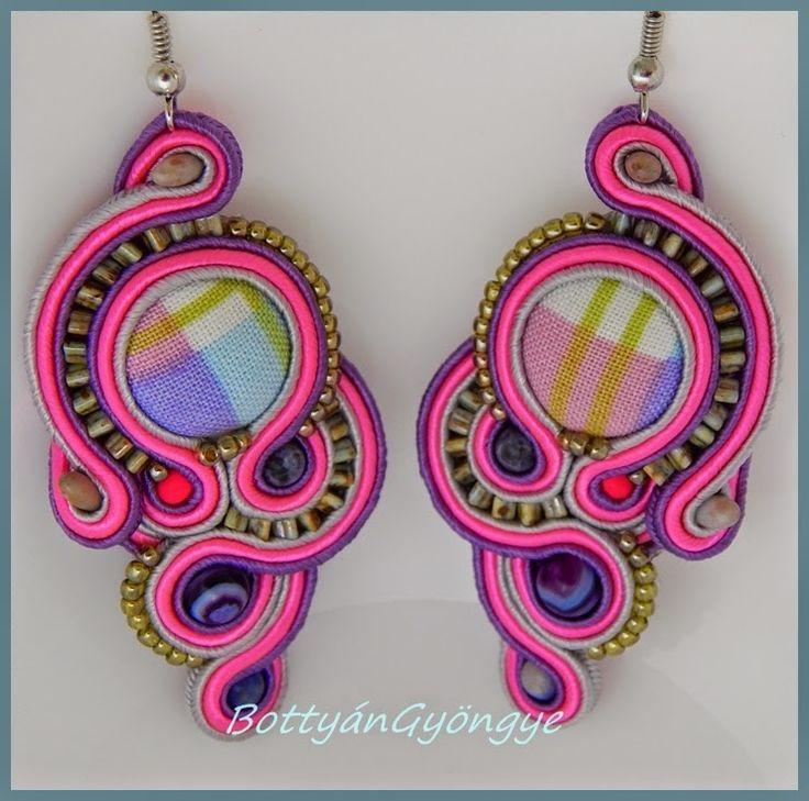 Pink - lila aszimmetrikus sujtás fülbevaló - tekert / Pink - purple asymmetrical earrings soutache - wrapped