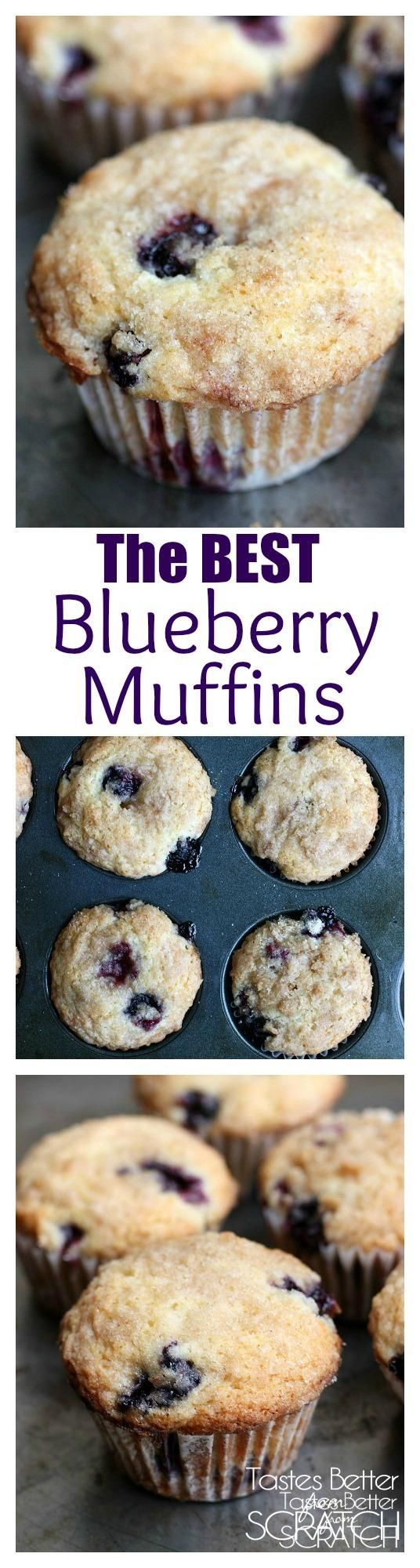 The BEST homemade Blueberry Muffins EVER! Jumbo muffins with a cinnamon sugar crumb topping. Recipe on TastesBetterFromScratch.com