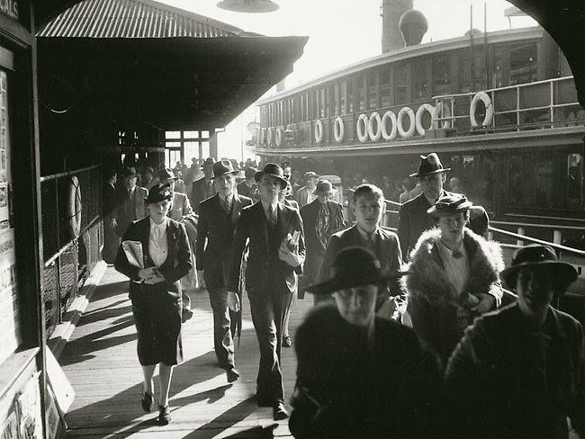 The morning commute on the Kubu ferry. This shot from 1938 is of Circular Quay, of workers disembarking from Balmain or Woolwich, Cremorne or Watson's Bay or Manly. It's by Max Dupain, …