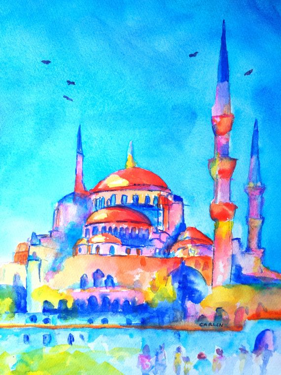 Turkey Istanbul Blue Mosque 9x12 Original by CarlinArtWatercolor artist Carlin Blahnik. Colorful watercolor painting of the Sultan Ahmet mosque landmark in Istanbul, Turkey. This Turkish style of architecture is known as Ottoman or Islamic architecture, with lovely rounded domes and minaret spires. Slightly abstract art with orange domes, colorful minaret, windows and exterior.