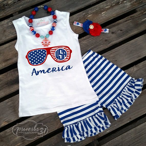 Hearts & Stripes Girls Outfit Perfect 4th of July / Independence Day outfit.  #proverbs31design #july4th #redwhiteblue #stars #stripes #independenceday #fireworks #outfit #merica #america