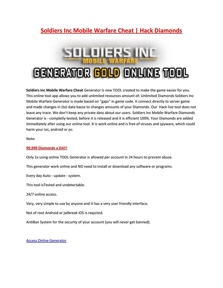 Soldiers inc mobile warfare Hack Tool