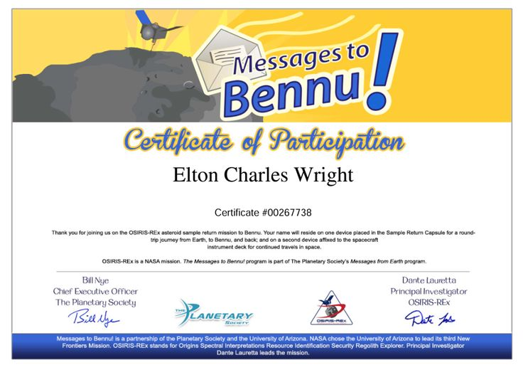 Certificate of participation in Messages to Bennu